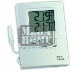 Дигитален термометър за вътрешна и външна температура бял