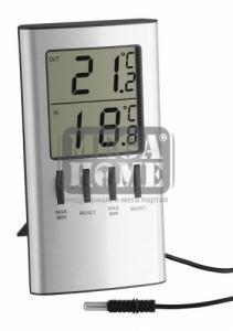 Дигитален термометър за вътрешна и външна температура сребрист