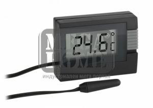 Дигитален термометър за вътрешна и външна температура черен