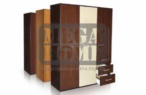Трикрилен гардероб с две чекмеджета