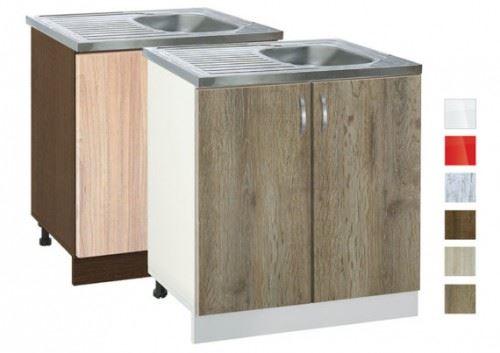 Долен кухненски шкаф с бордова мивка