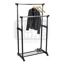 Закачалка за дрехи на колела двойна с подложка