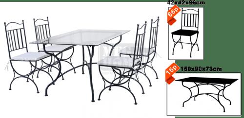 Градински к-кт Ковано желязо 24743AB маса с 6 стола HG