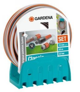 Комплект стенен държач с маркуч 20 м 13 мм и конектори Gardena