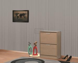 Шкаф за обувки с корпус цвят орех 60 х 84 см Ларди