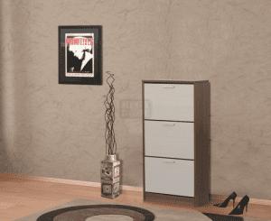 Шкаф за обувки с корпус цвят венге 60 х 120 см Ларди