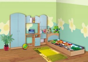 Комплект за детска стая Доби с корпус цвят орех Ларди