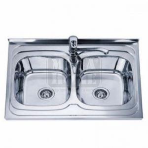 Умивалник за кухня Алпака 800 х 600 х 180 мм с две мивки