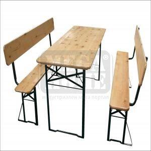 Дървен сет за заведение или градина - маса с 2 пейки TLW011-A1