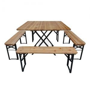 Дървен сет за заведение или градина - маса с 4 пейки TLW012
