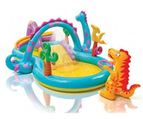 Детски център за игра с пързалка Динозаври Intex 57135NP