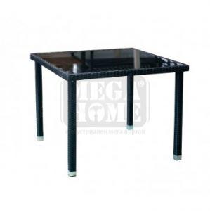 Градинска маса с изкуствен ратан 90 х 90 см