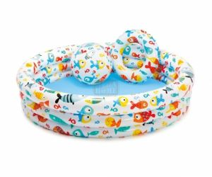 Надуваем детски басейн с топка и пояс Рибки Intex Fishbowl