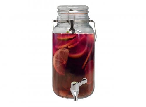 Стъклен буркан диспенсър за течности 4 л с кранче Vin Bouquet