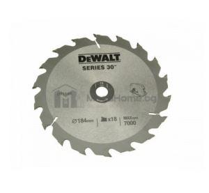 Циркулярен HM диск за дърво DeWalt 184 мм х 16 мм z18