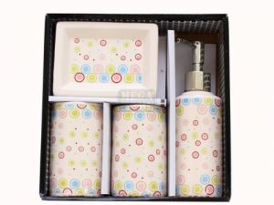Керамичен комплект за баня 4-ка кръг декор С21-56