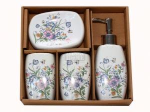 Керамичен комплект за баня 4-ка гланц цветя С21-60