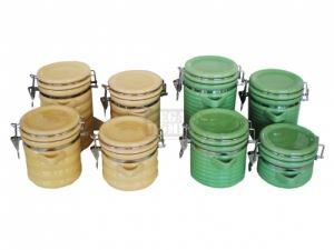 Комплект 4 броя керамични буркани с щипка Вавилон