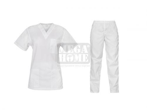 Медицински комплект туника и панталон Cesare бял