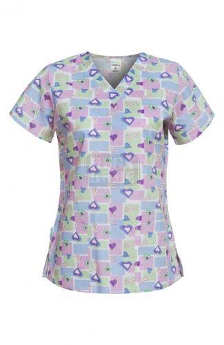Медицинска дамска туника Bambina сини сърца / панделки