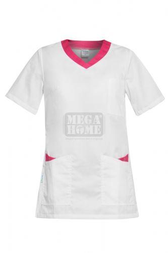Медицинска дамска туника Paola бяла с розово
