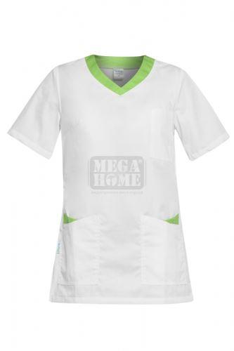 Медицинска дамска туника Paola бяла със зелено