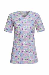 Медицинска дамска туника с копчета Carina сини сърца / панделки