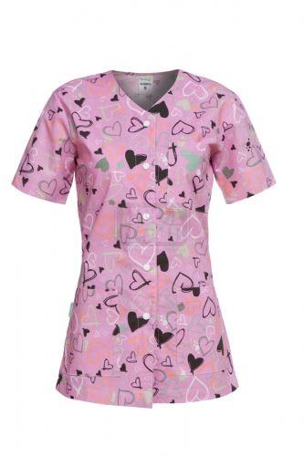 Медицинска дамска туника с копчета Carina розови сърца
