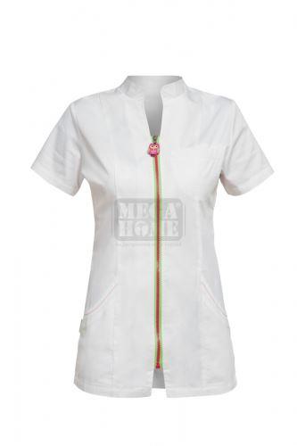 Медицинска дамска туника Tina бяла с розов цип