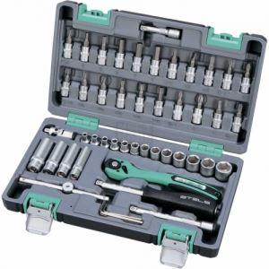 Комплект инструменти 47 части 1/4 в подсилен куфар Stels