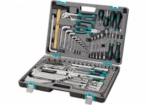 Комплект инструменти 142 части 1/2 3/8 в пластмасов куфар Stels