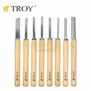 Комплект стругарски длета за дърво, 8 бр. Troy