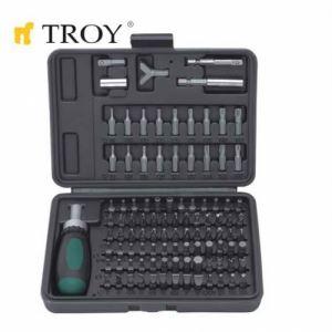 Комплект тресчота ръкохватка с накрайници, 101 части Troy