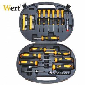 Комплект отвертки, накрайници и вложки, 49 бр. Wert