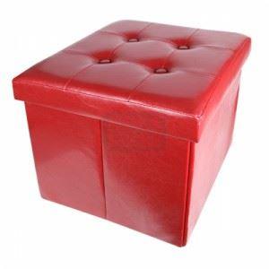 Табуретка HOMA - изкуствена кожа - червена