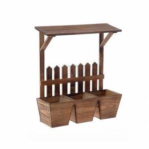 Дървен цветарник за 3 саксии Inart