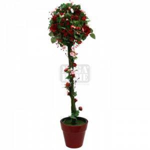 Изкуствено растение в саксия, червено 90 см Inart