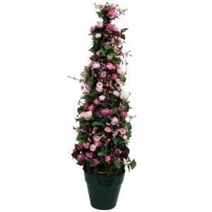 Изкуствено растение в саксия, розово 85 см Inart