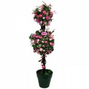Изкуствено растение в саксия, розово 90 см Inart