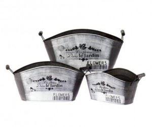 Комплект метални кашпи, 3 бр. Inart