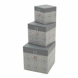 Квадратни декоративни кутии с копче, 3 бр. Inart