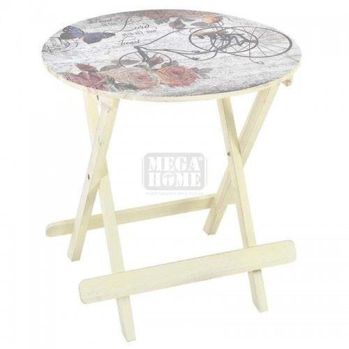 Сгъваема маса с колело Inart 60 х 60 х 61 см