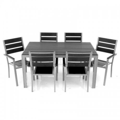 Комплект маса с 6 стола алуминий и дърво Inart