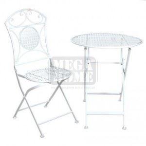 Комплект маса с 2 стола бели Inart