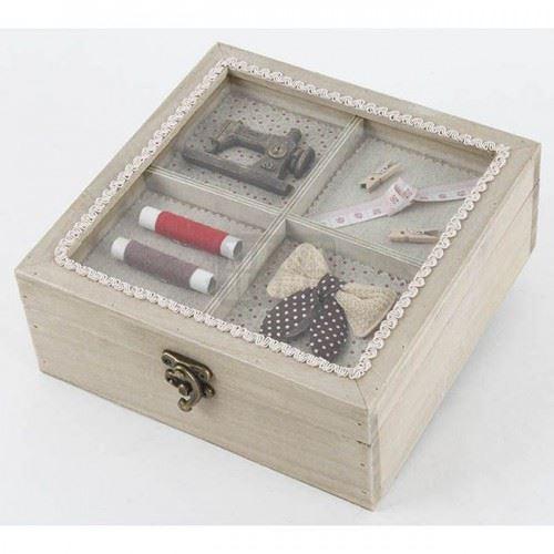 Дървена кутия за шиене, квадратна Inart
