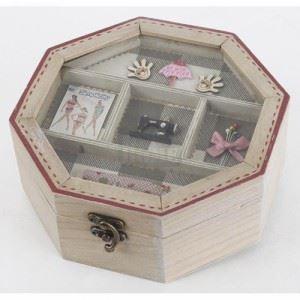 Дървена кутия за шиене, осмоъгълна Inart