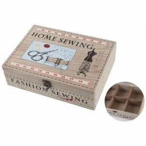 Дървена кутия за шиене, правоъгълна Inart