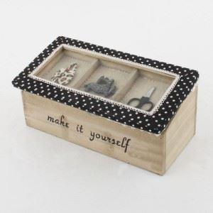Дървена кутия за шиене с декорация, правоъгълна Inart