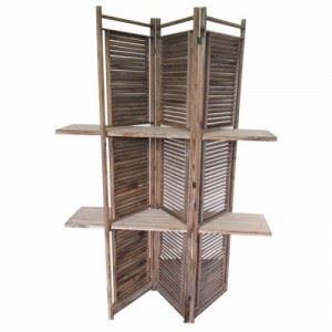 Дървен параван Inart 124 х 180 см кафяв