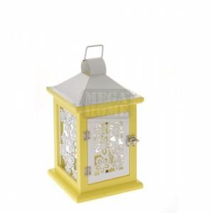 Дървен фенер, бяло и жълто 24 см N-art